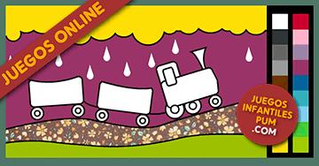 Dibujos Para Colorear Online Pintar Tren Niños Jugando