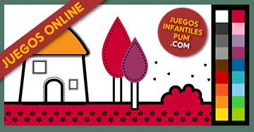Dibujos Para Colorear Online Pintar Casita En El Campo Niños